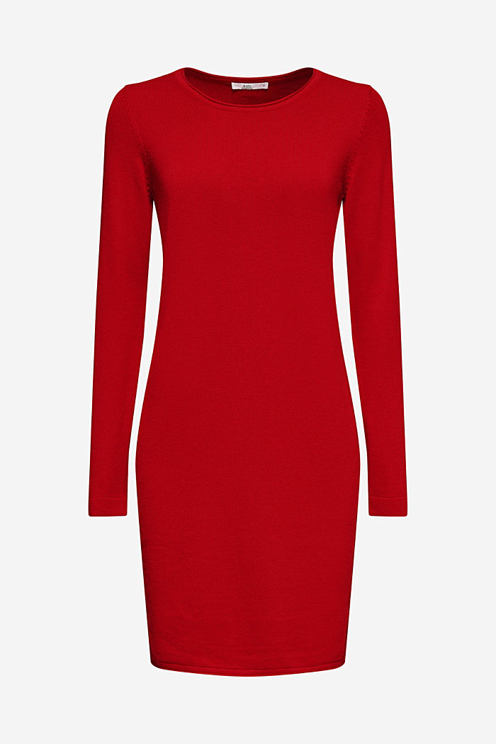 Basic knit dress with rolled edge, DARK RED, detail image number 3