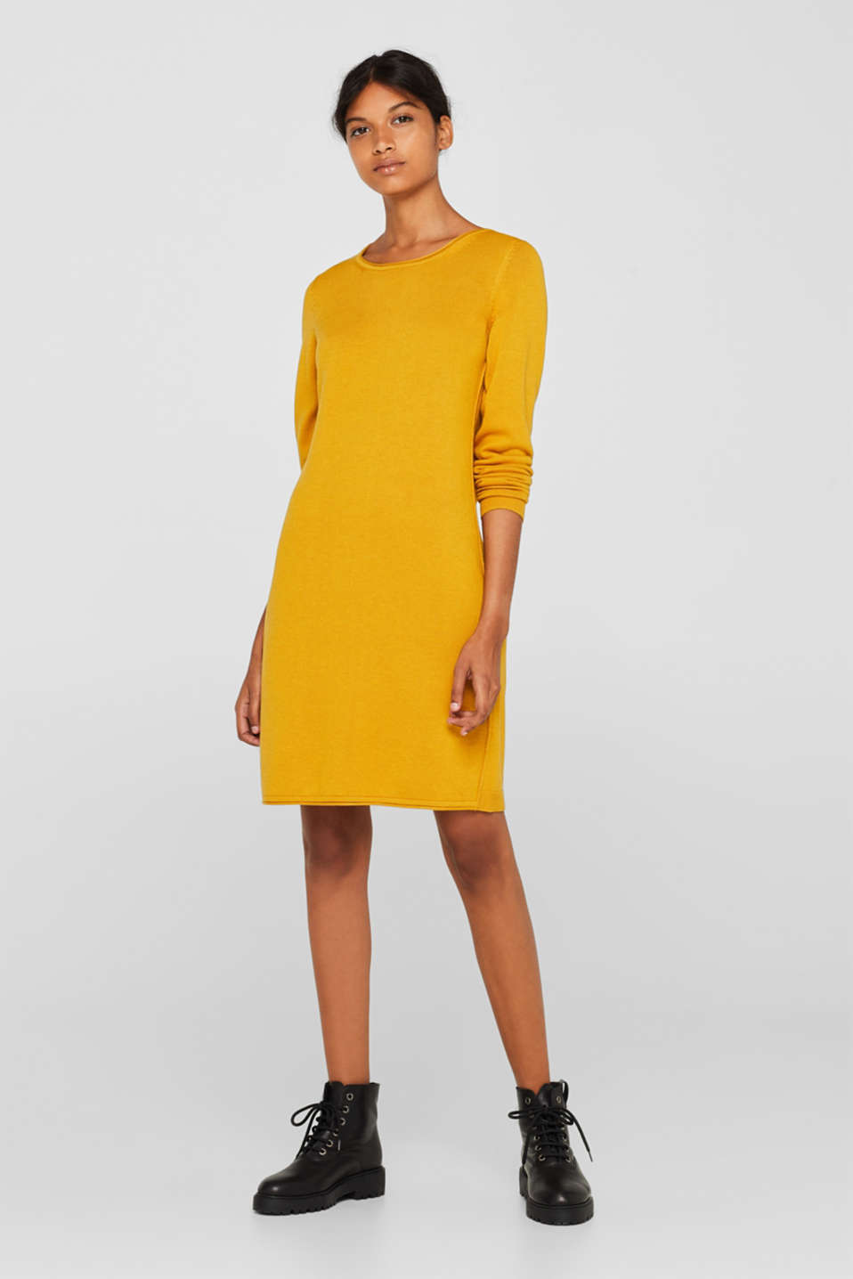Basic knit dress with rolled edge, BRASS YELLOW, detail image number 3