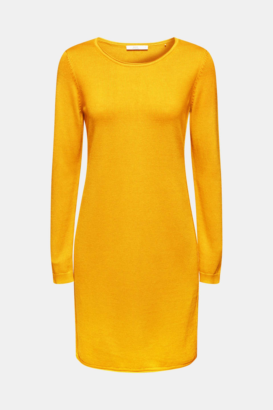Basic knit dress with rolled edge, BRASS YELLOW, detail image number 5
