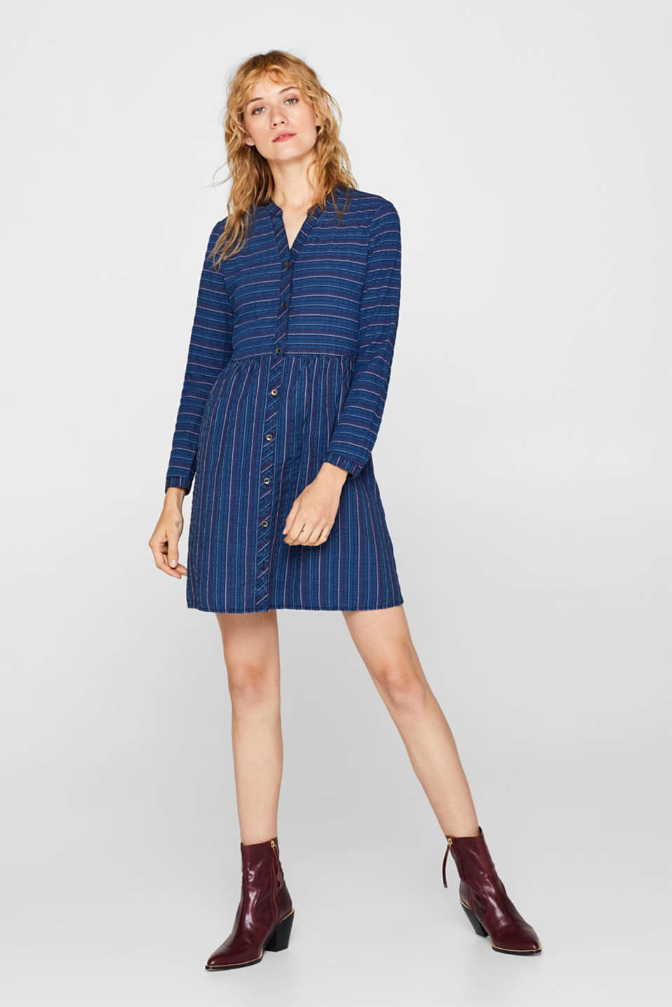 An everyday dress in a striped denim effect, BLUE MEDIUM WASH, detail image number 1