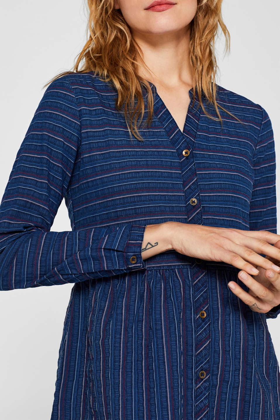 An everyday dress in a striped denim effect, BLUE MEDIUM WASH, detail image number 3