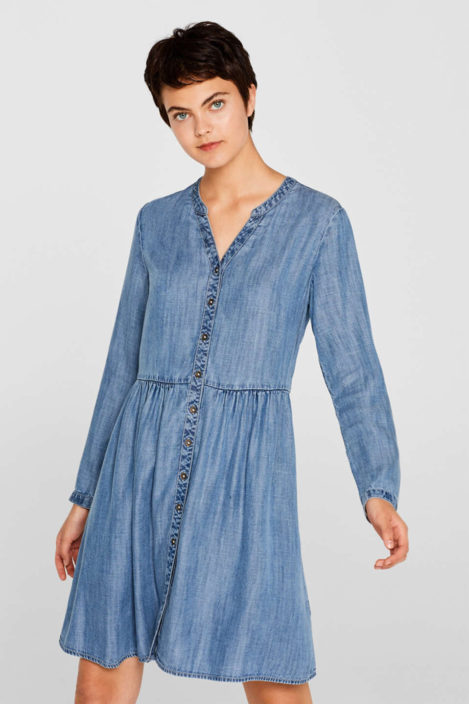 edc - Aus TENCEL™: Kleid in Denim-Optik