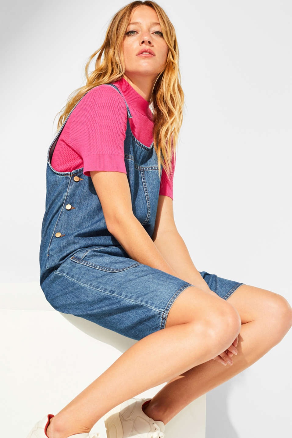 Denim dungaree dress, 100% cotton, BLUE MEDIUM WASH, detail image number 0
