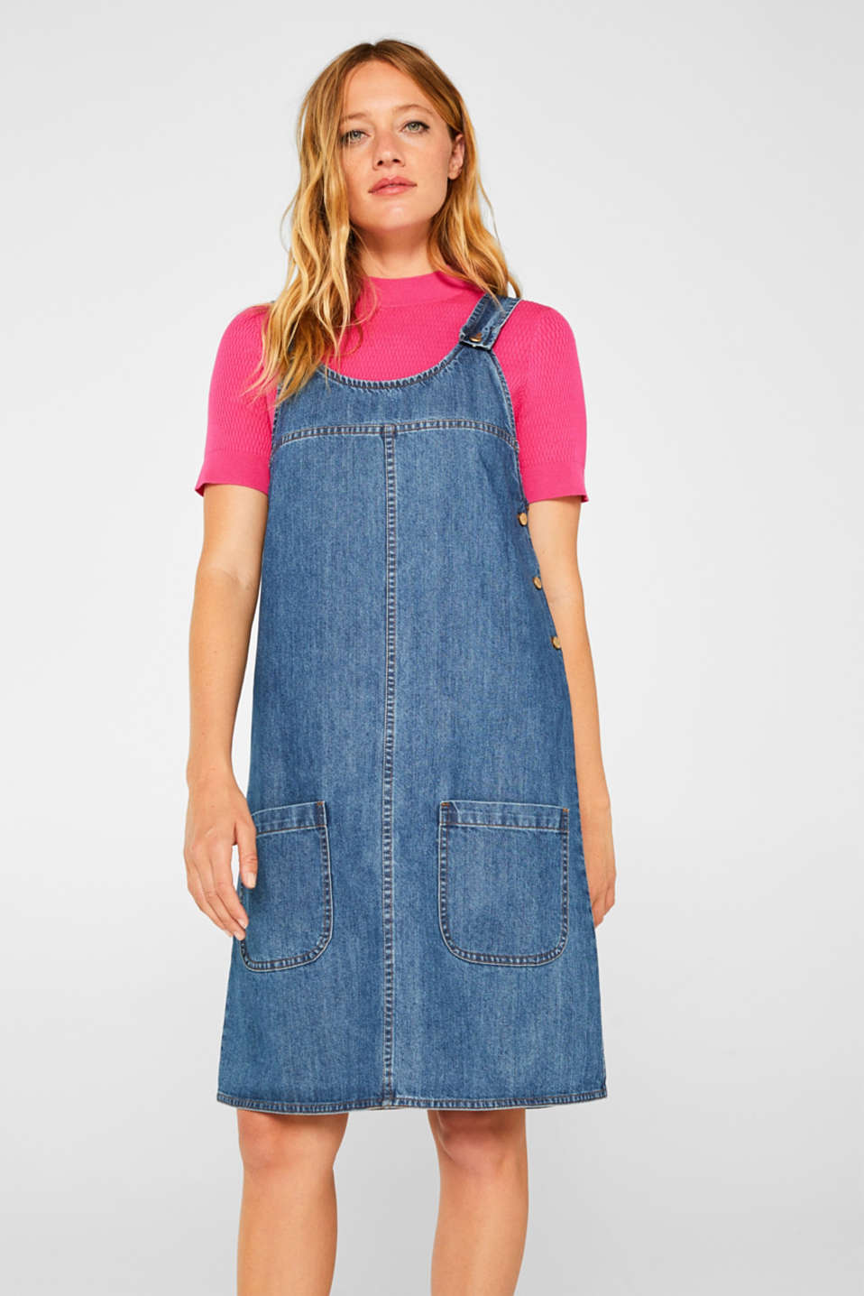 Denim dungaree dress, 100% cotton, BLUE MEDIUM WASH, detail image number 4