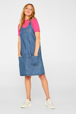 Denim dungaree dress, 100% cotton, BLUE MEDIUM WASH, detail
