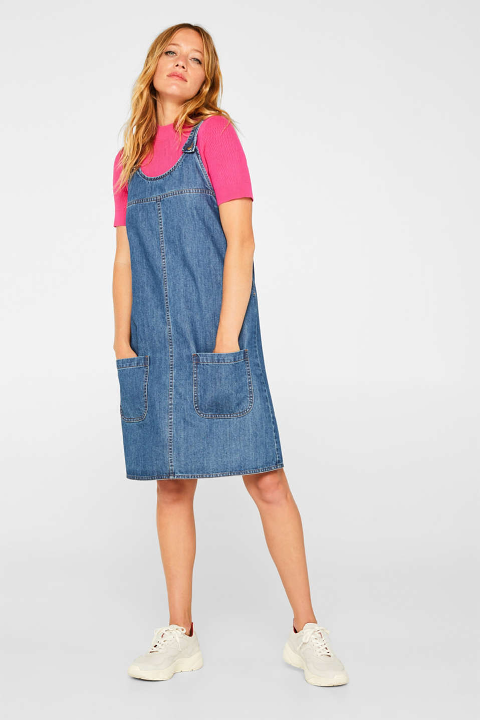 Denim dungaree dress, 100% cotton, BLUE MEDIUM WASH, detail image number 1