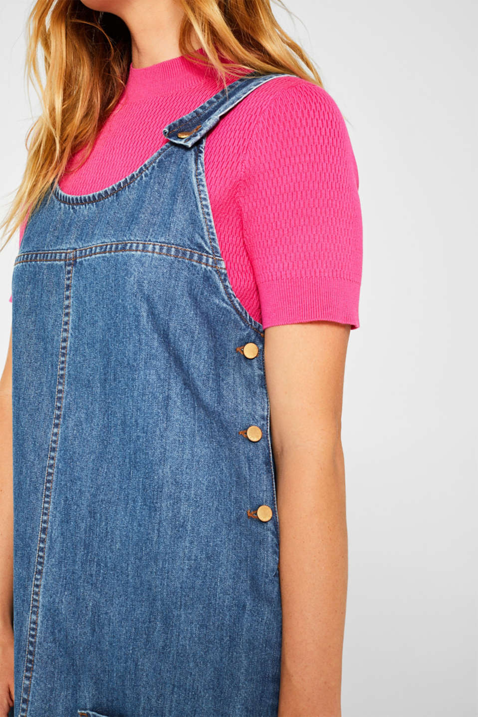 Denim dungaree dress, 100% cotton, BLUE MEDIUM WASH, detail image number 3