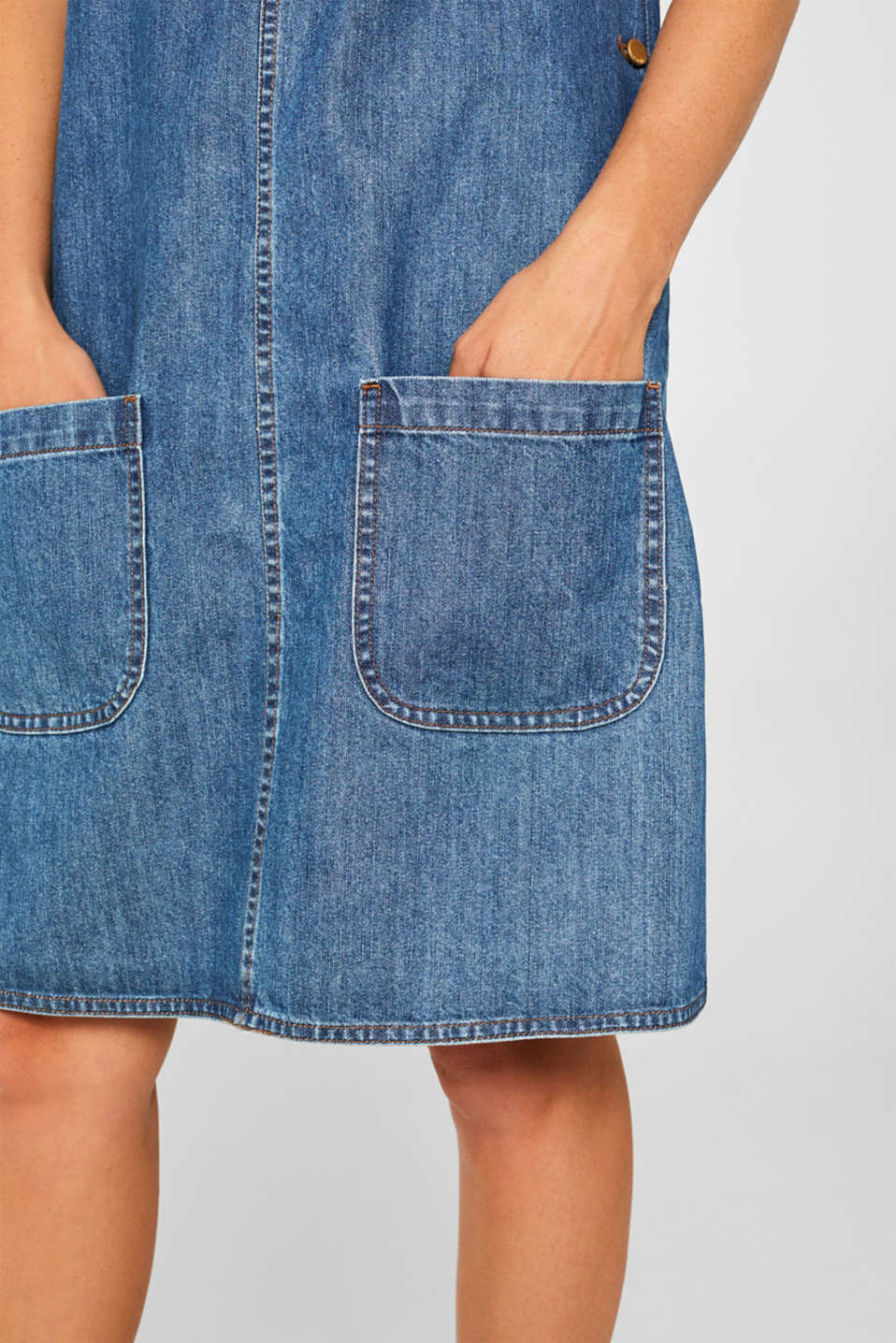 Denim dungaree dress, 100% cotton, BLUE MEDIUM WASH, detail image number 7
