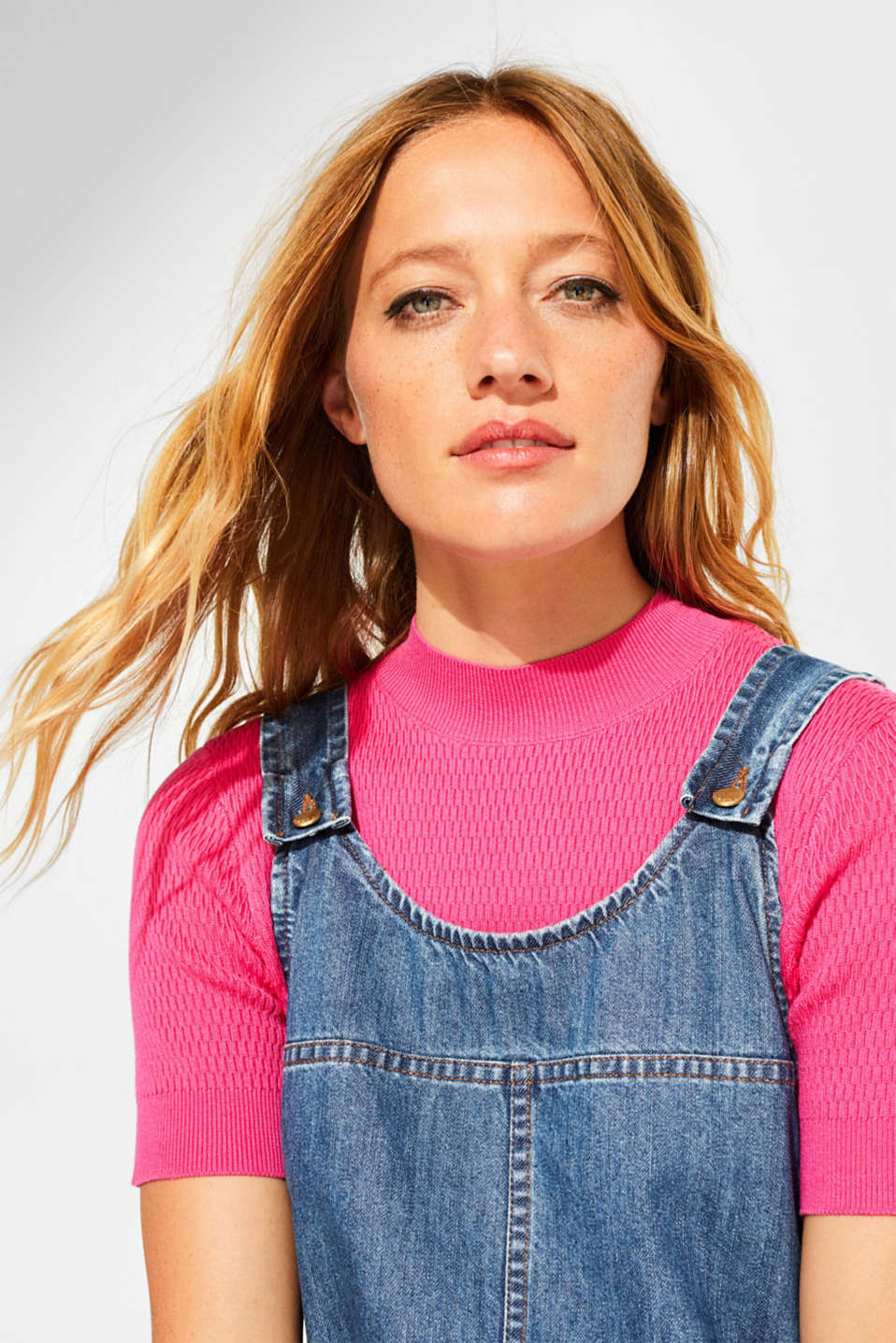 Denim dungaree dress, 100% cotton, BLUE MEDIUM WASH, detail image number 8