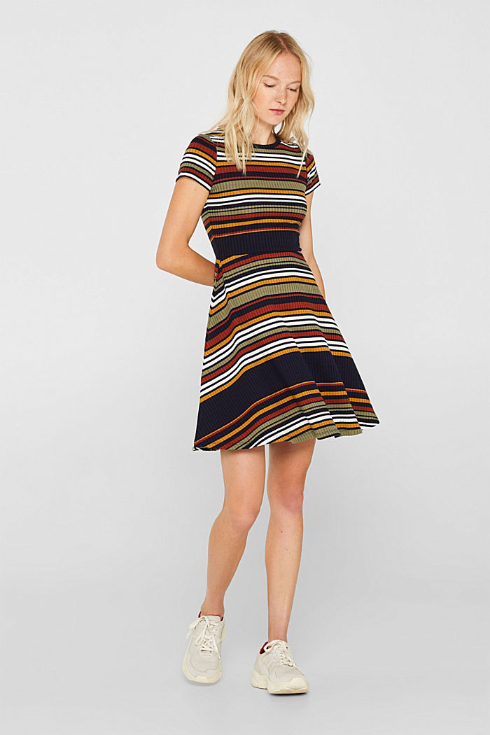 Knit dress with stripes, NAVY, detail image number 0