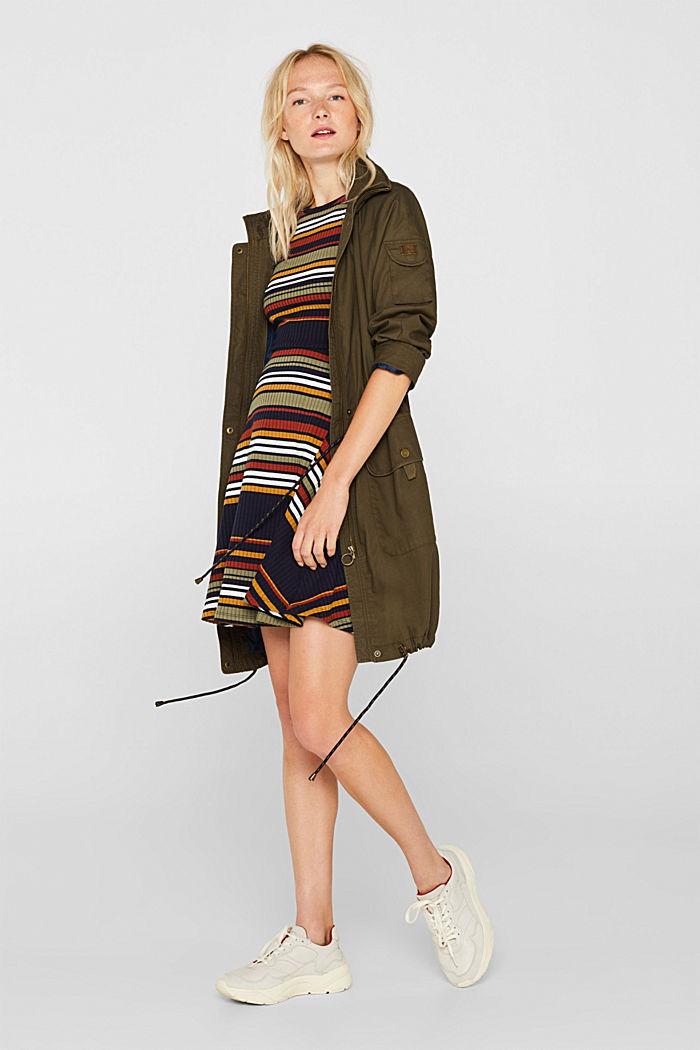 Strick-Kleid mit Streifen, NAVY, detail image number 0