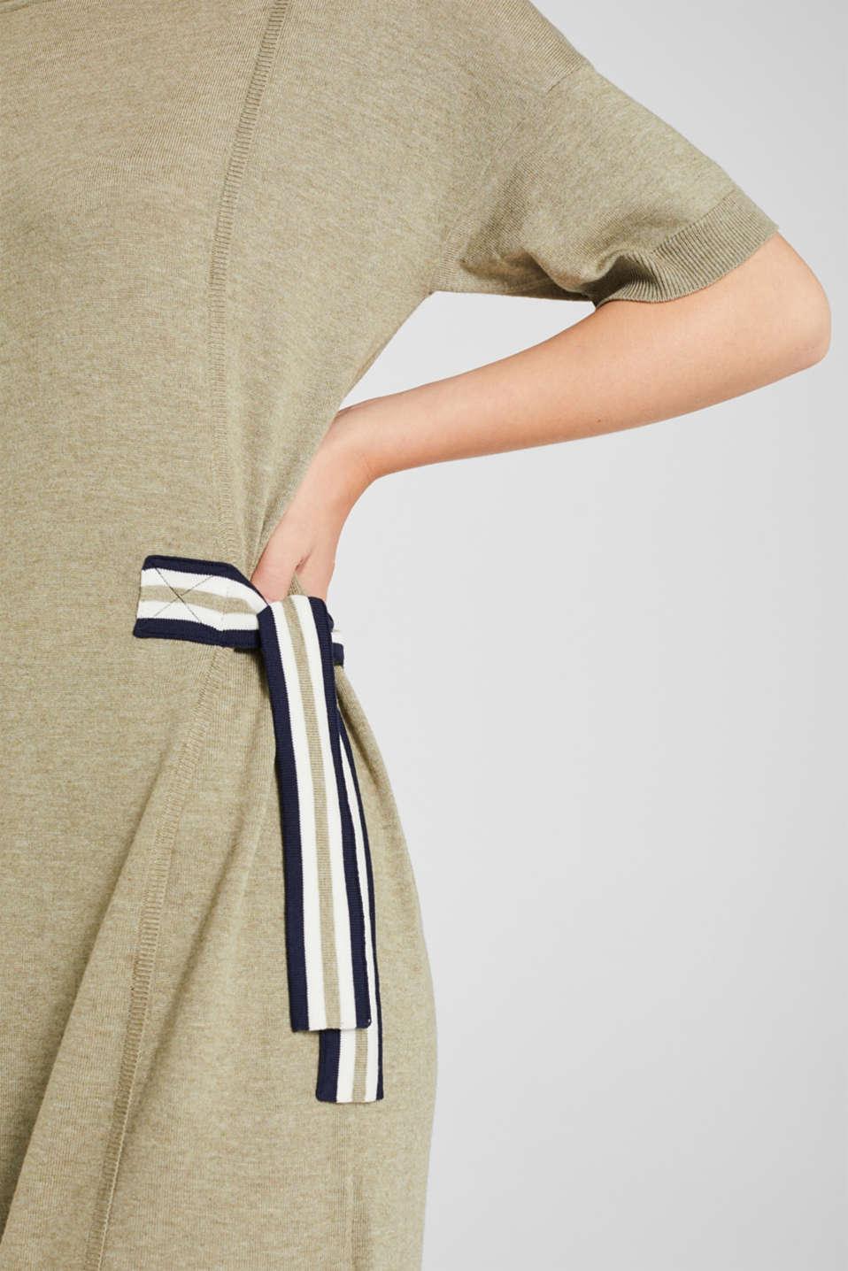 Bow detail knit dress, KHAKI GREEN 5, detail image number 3