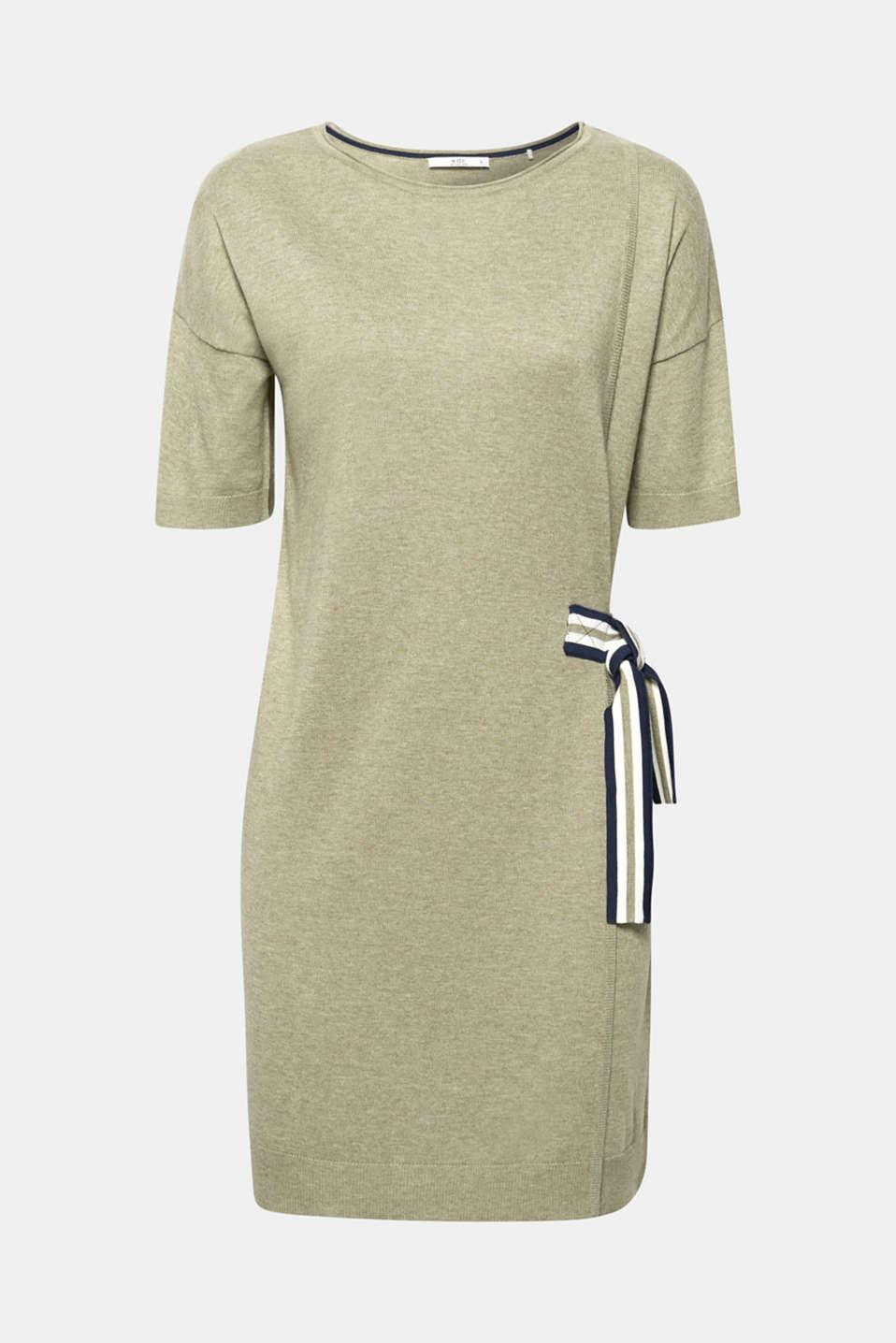 Bow detail knit dress, KHAKI GREEN 5, detail image number 6