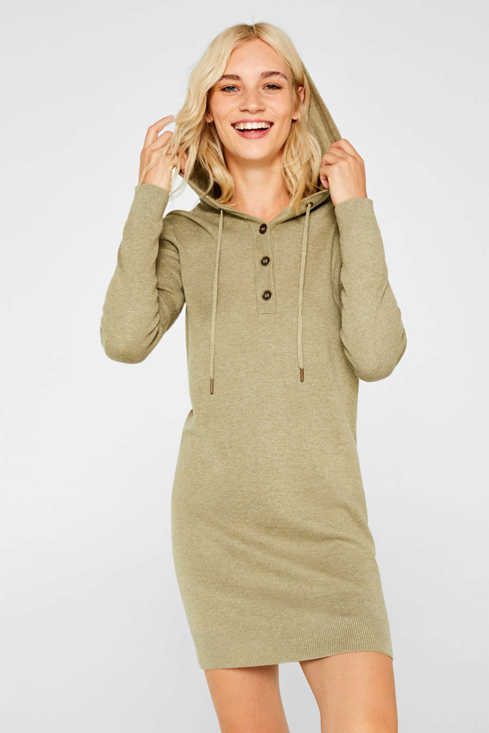 edc - Knit dress with a hood and button placket