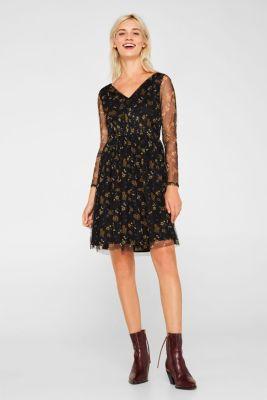 Mesh dress with smocked details, BLACK, detail