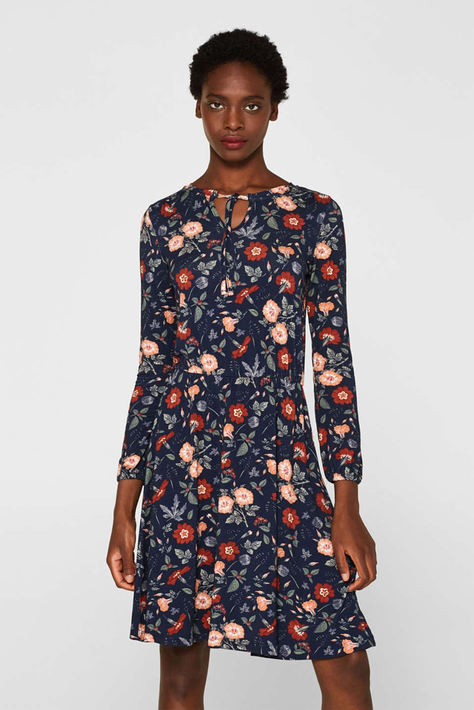 Flowing jersey dress with floral print, NAVY, detail image number 0