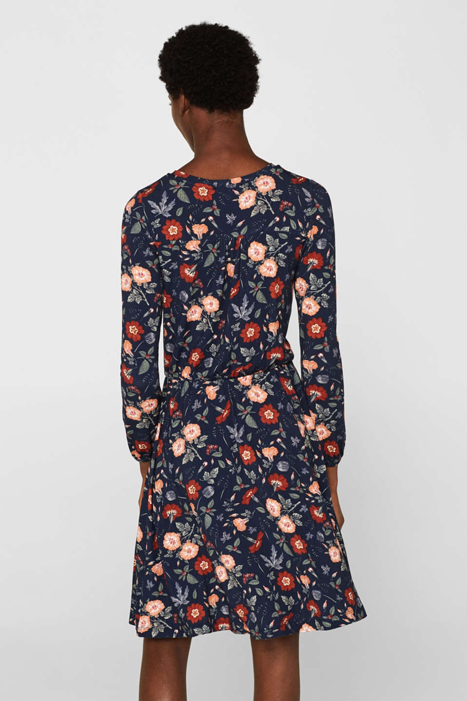 Flowing jersey dress with floral print, NAVY, detail image number 2