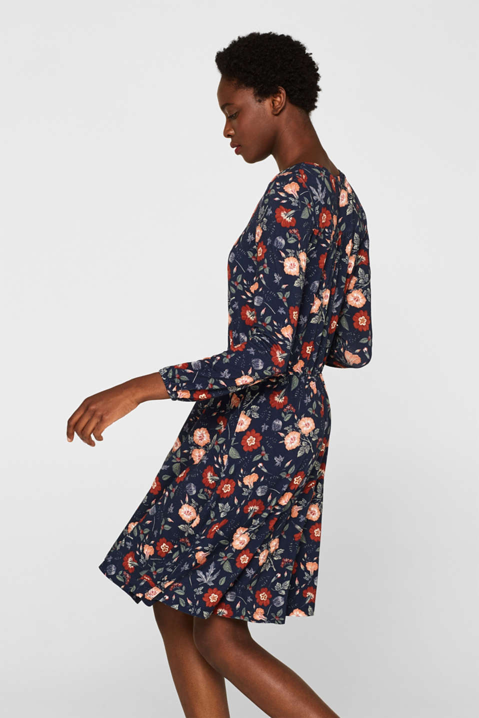 Flowing jersey dress with floral print, NAVY, detail image number 4