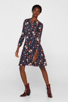 Flowing jersey dress with floral print, NAVY, detail