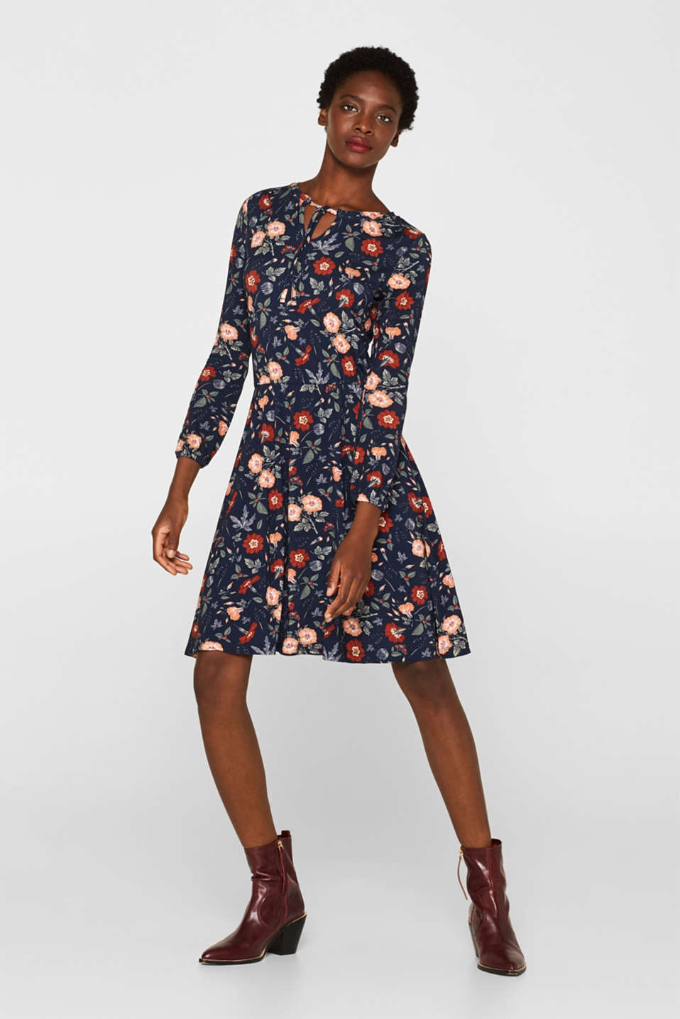 Flowing jersey dress with floral print, NAVY, detail image number 1