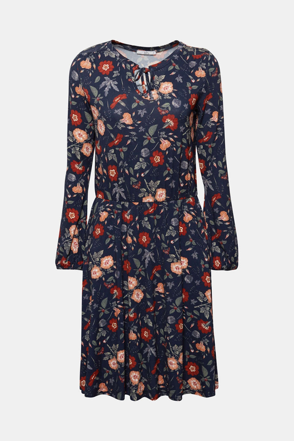 Flowing jersey dress with floral print, NAVY, detail image number 7