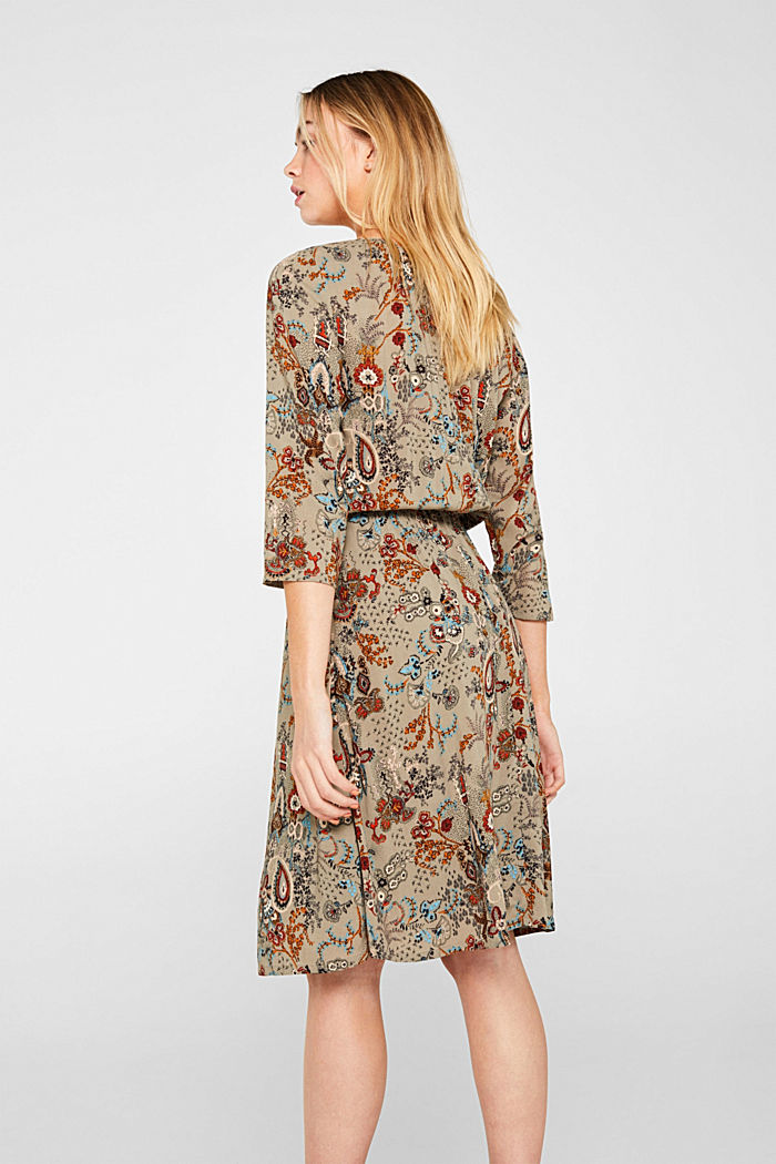 Flowing dress with an all-over print, PALE KHAKI, detail image number 2