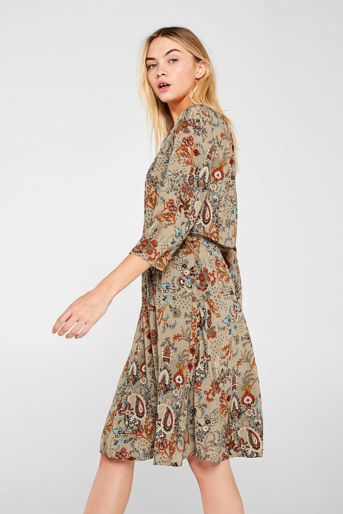 Flowing dress with an all-over print, PALE KHAKI, detail image number 5
