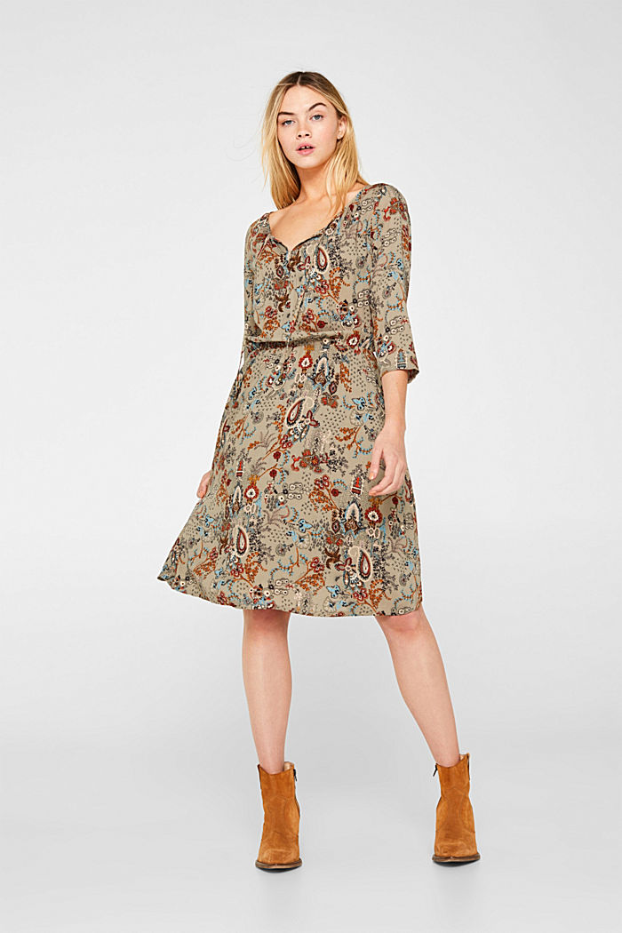 Flowing dress with an all-over print, PALE KHAKI, detail image number 1
