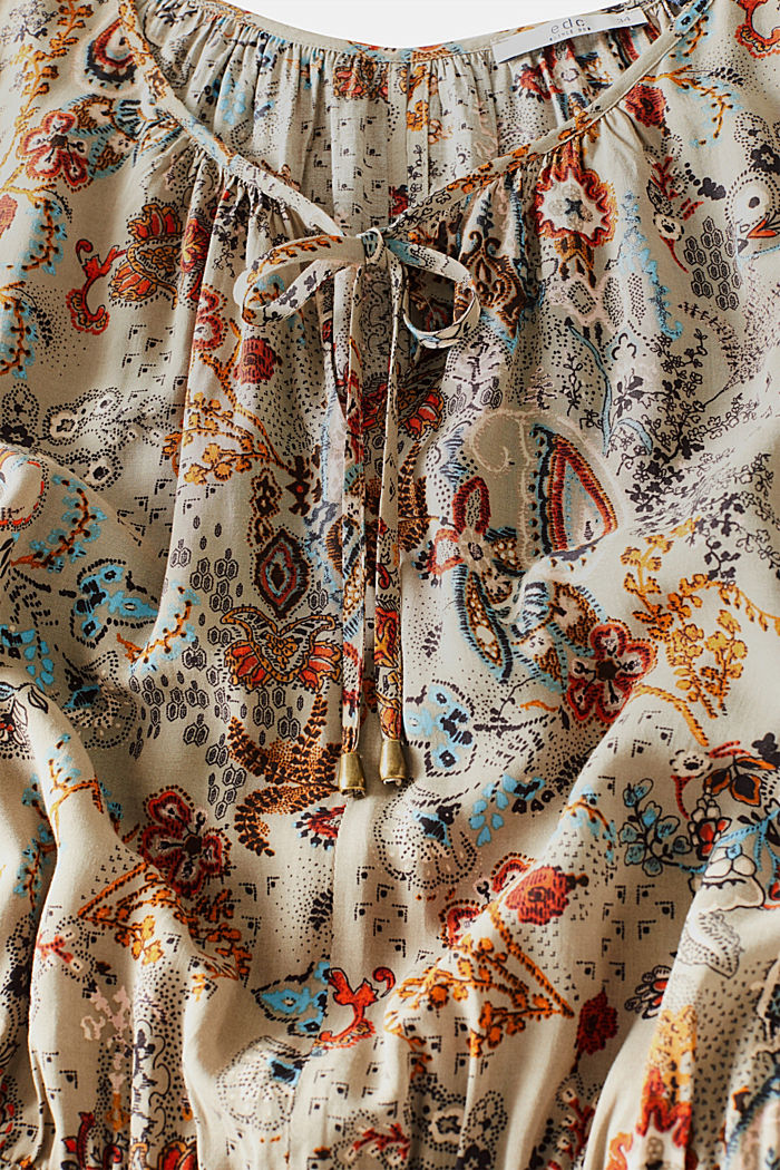 Flowing dress with an all-over print, PALE KHAKI, detail image number 4