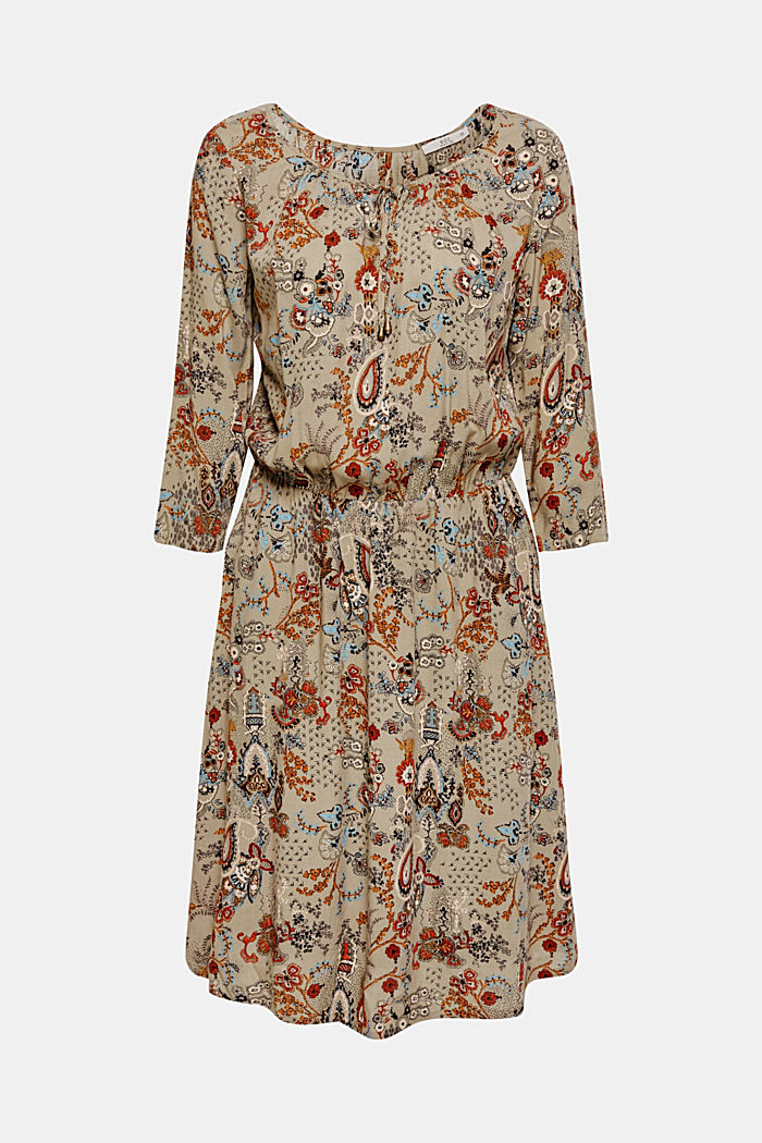 Flowing dress with an all-over print, PALE KHAKI, detail image number 6