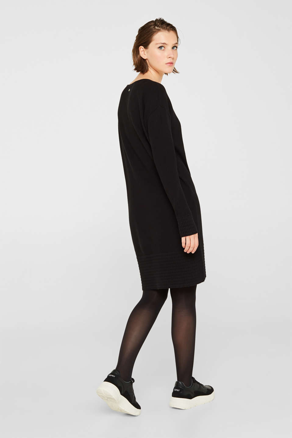 Textured knitted dress with organic cotton, BLACK, detail image number 1