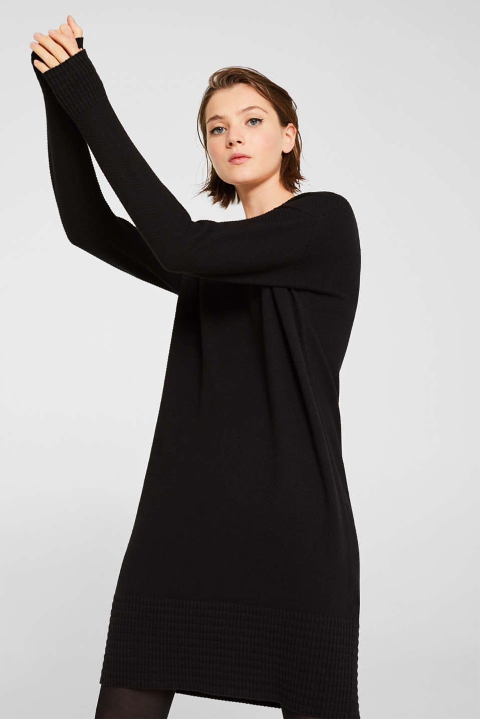 Textured knitted dress with organic cotton, BLACK, detail image number 4