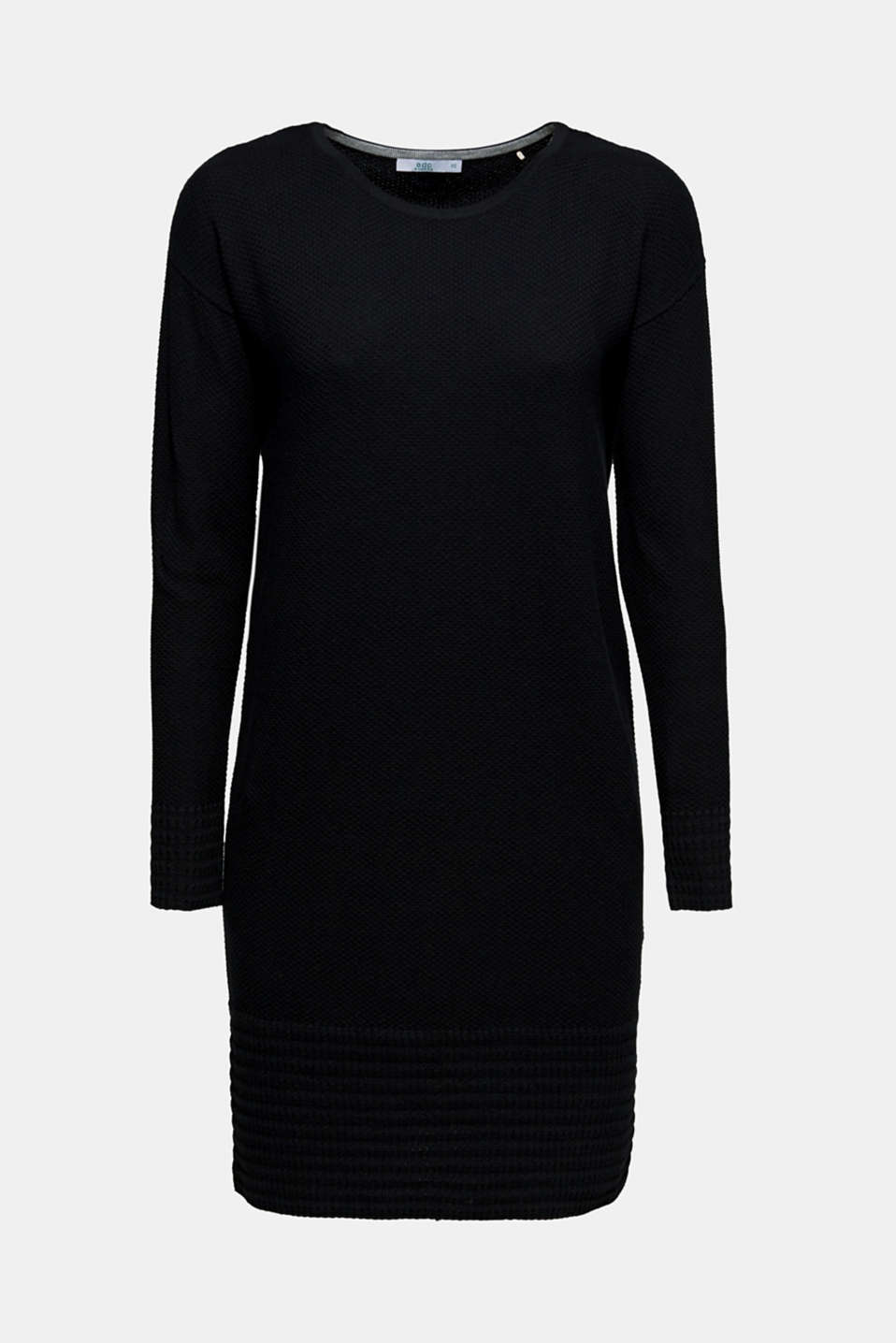 Textured knitted dress with organic cotton, BLACK, detail image number 6