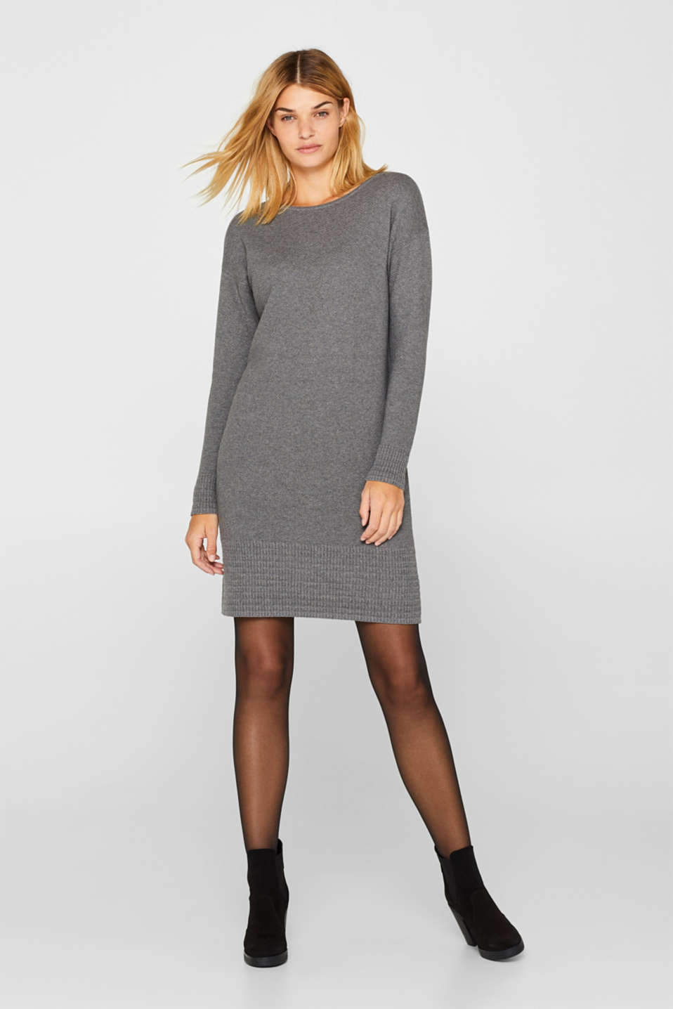 edc - Textured knitted dress with organic cotton