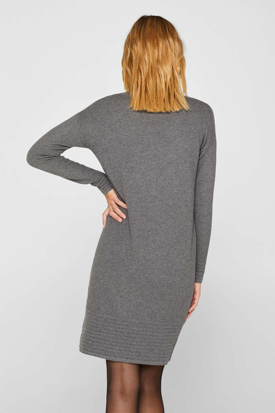 Textured knitted dress with organic cotton, GUNMETAL 5, detail image number 2