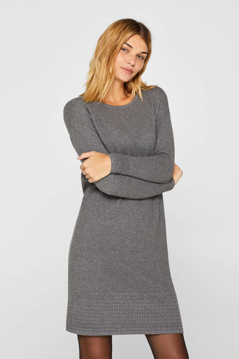 Textured knitted dress with organic cotton, GUNMETAL 5, detail image number 5