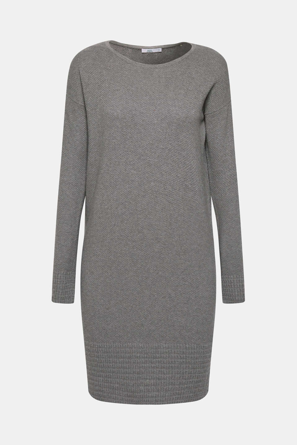 Textured knitted dress with organic cotton, GUNMETAL 5, detail image number 6