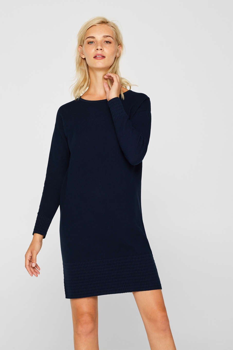 Textured knitted dress with organic cotton, NAVY 2, detail image number 0