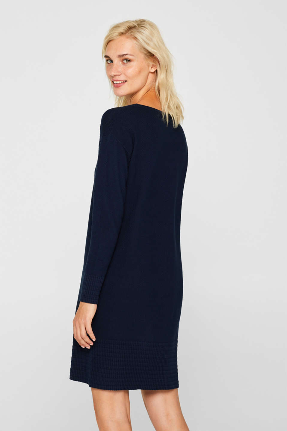Textured knitted dress with organic cotton, NAVY 2, detail image number 1