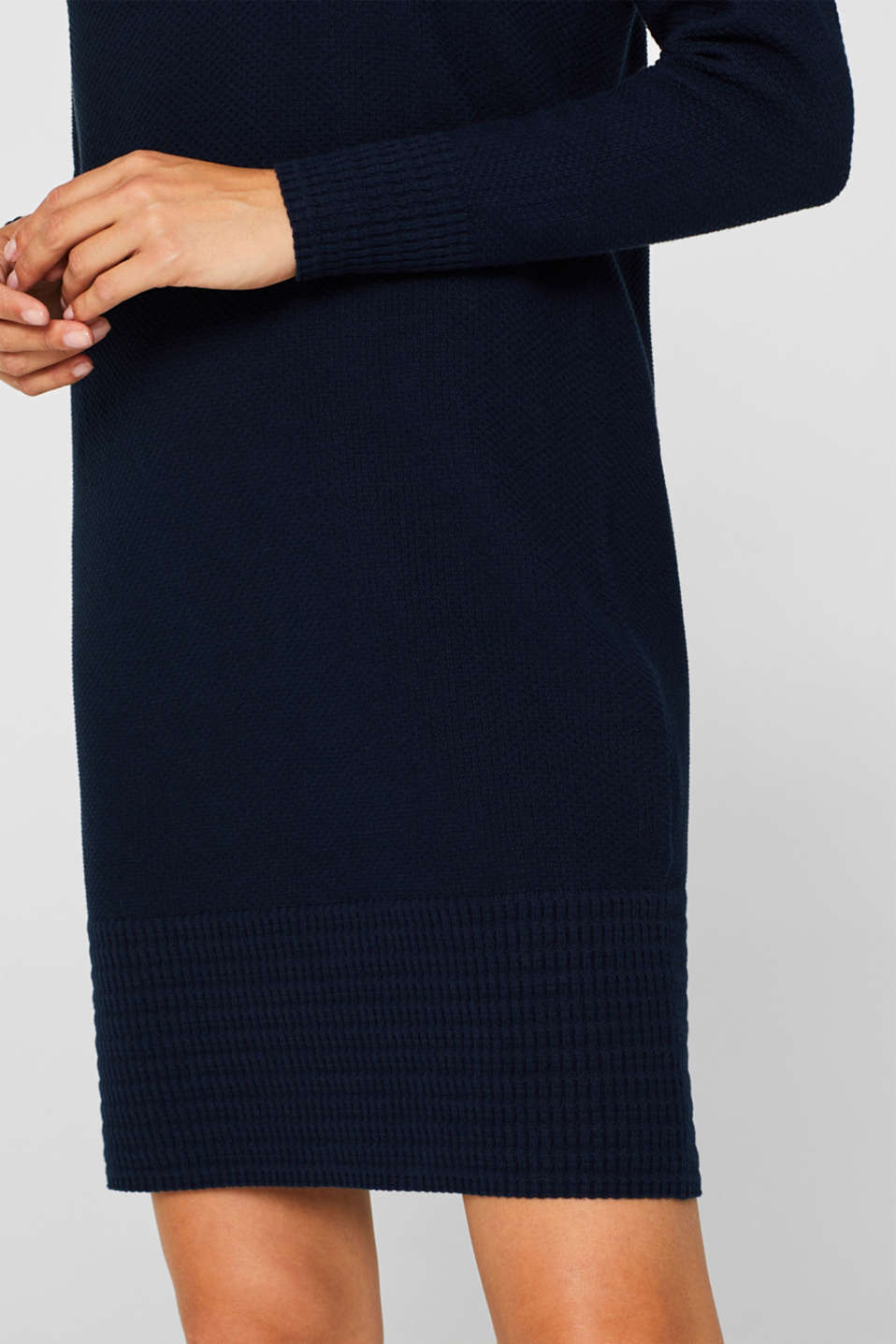 Textured knitted dress with organic cotton, NAVY 2, detail image number 4