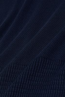 Textured knitted dress with organic cotton, NAVY 2, detail