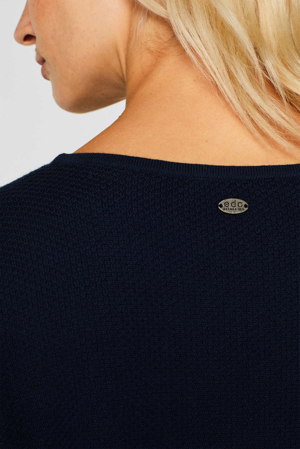 Textured knitted dress with organic cotton, NAVY 2, detail image number 5