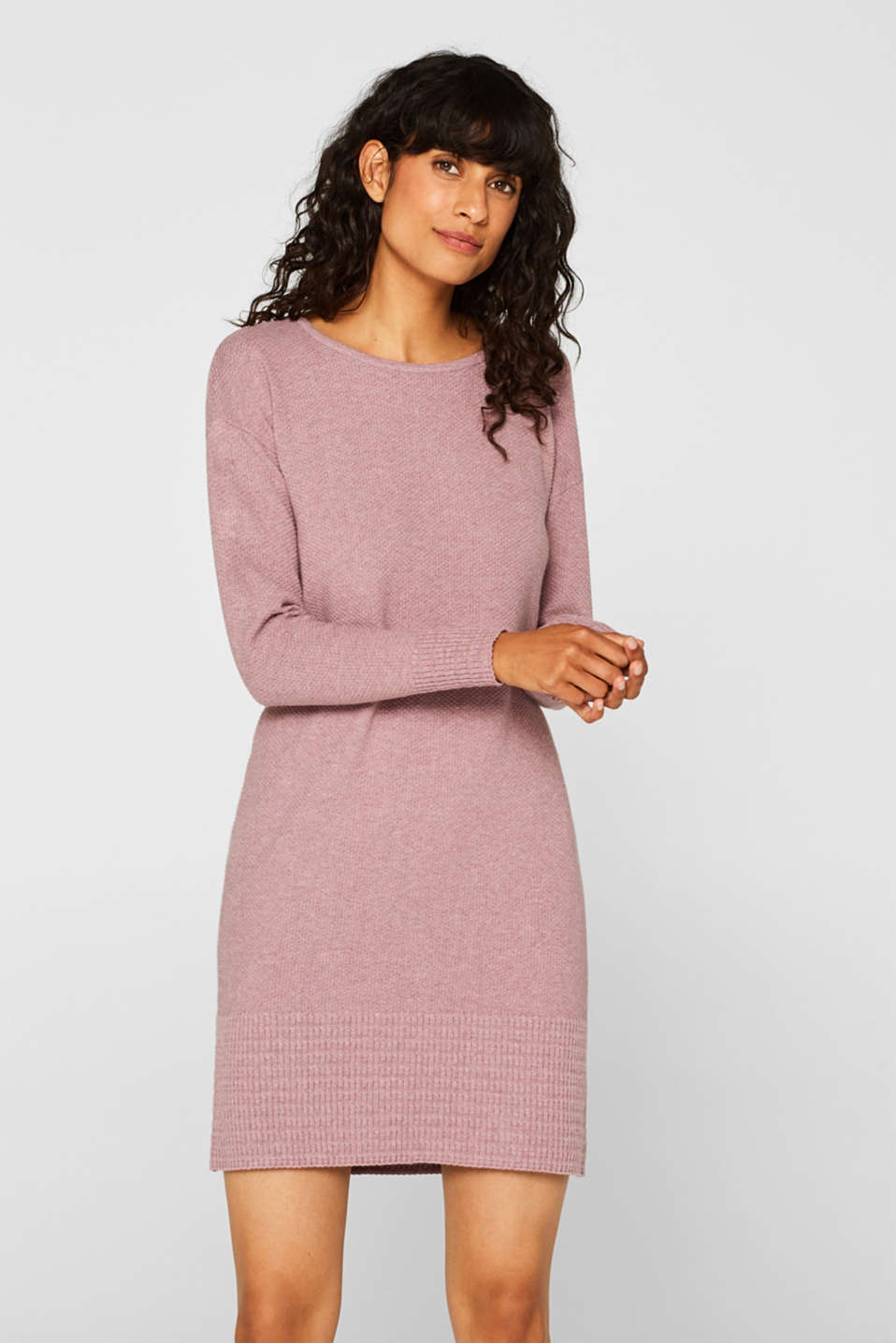 edc - Textured knit dress with organic cotton