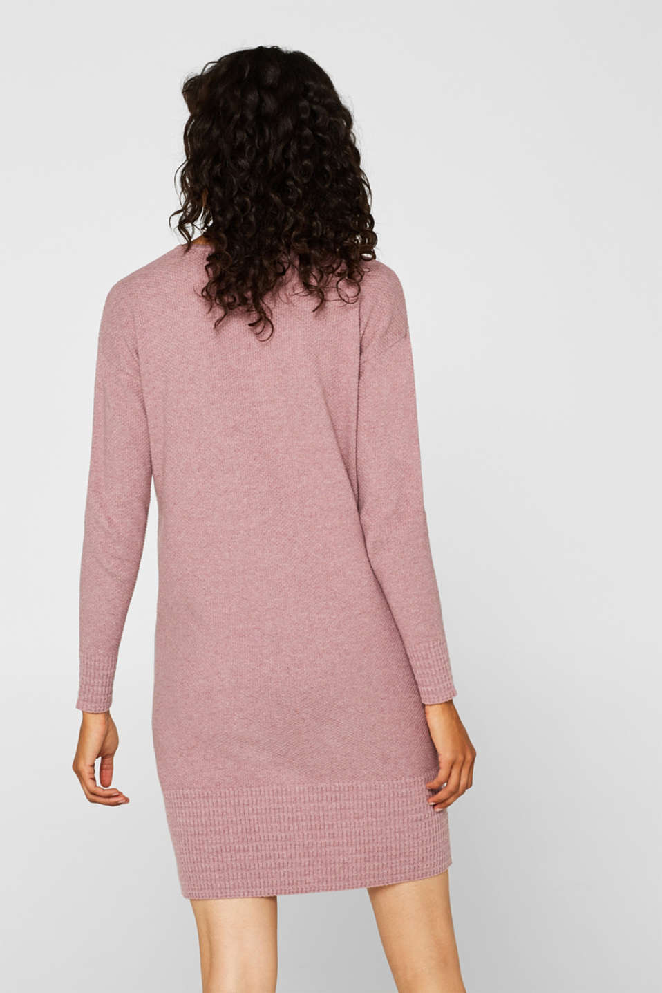 Textured knitted dress with organic cotton, MAUVE 5, detail image number 2