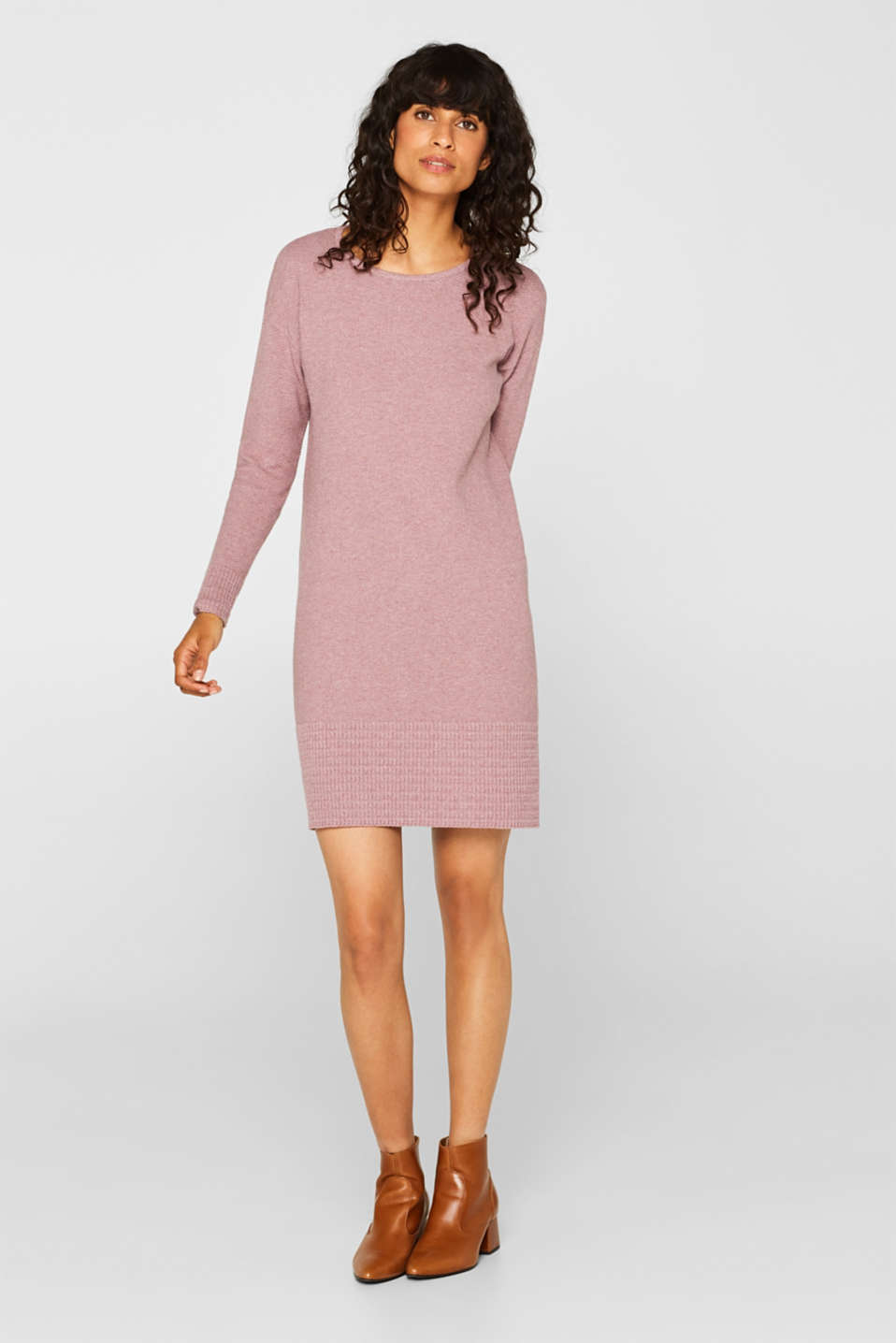 Textured knitted dress with organic cotton, MAUVE 5, detail image number 1