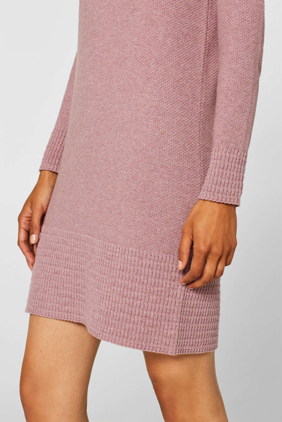 Textured knitted dress with organic cotton, MAUVE 5, detail image number 3