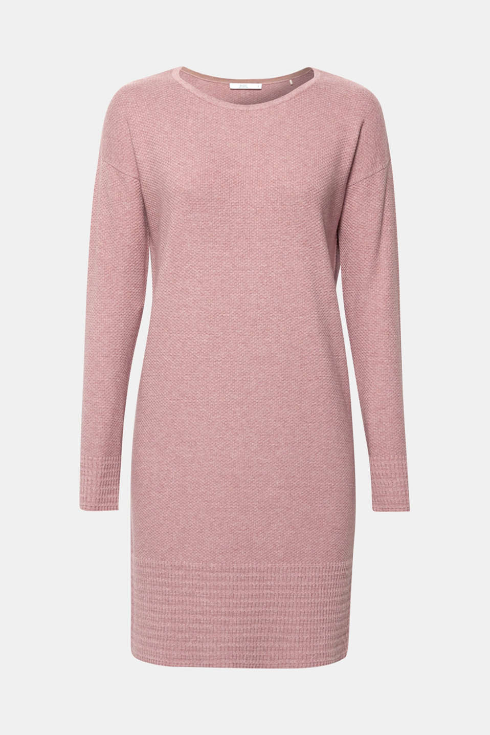 Textured knitted dress with organic cotton, MAUVE 5, detail image number 5