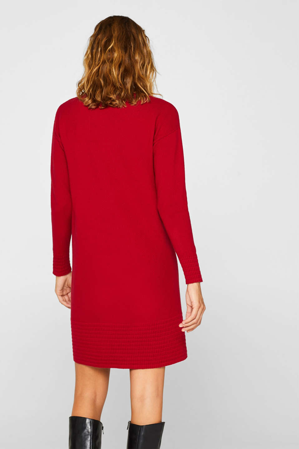 Textured knitted dress with organic cotton, RED, detail image number 2