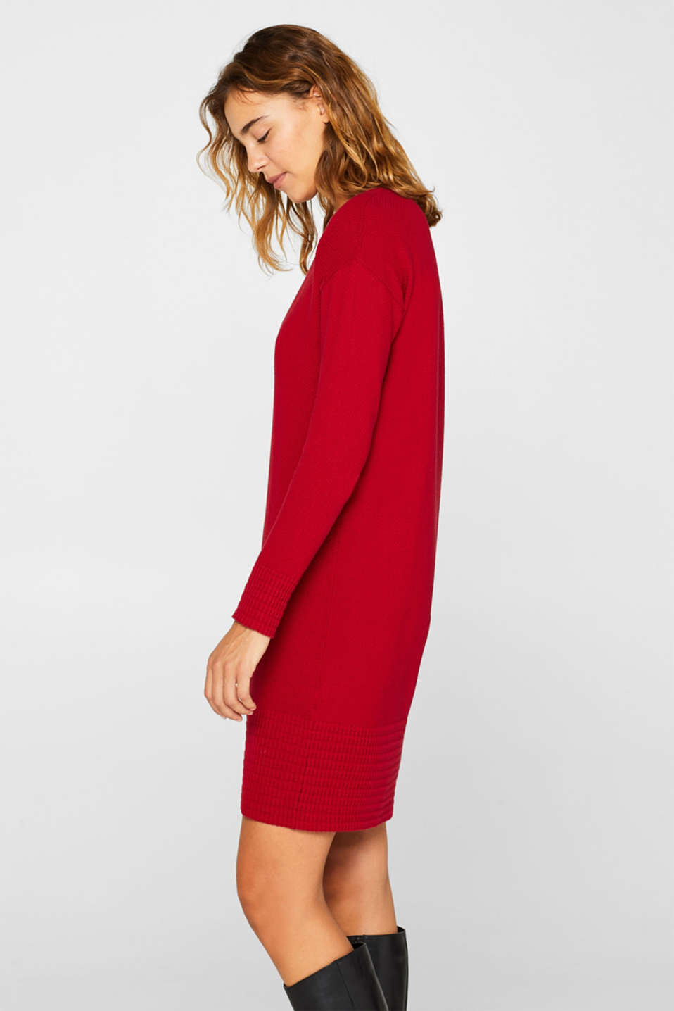Textured knitted dress with organic cotton, RED, detail image number 5