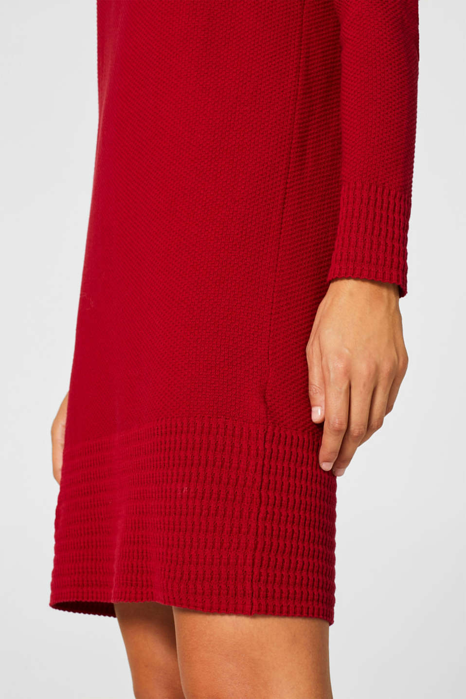 Textured knitted dress with organic cotton, RED, detail image number 3